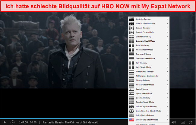 Screenshot von My Expat Network, das HBO JETZT entsperrt