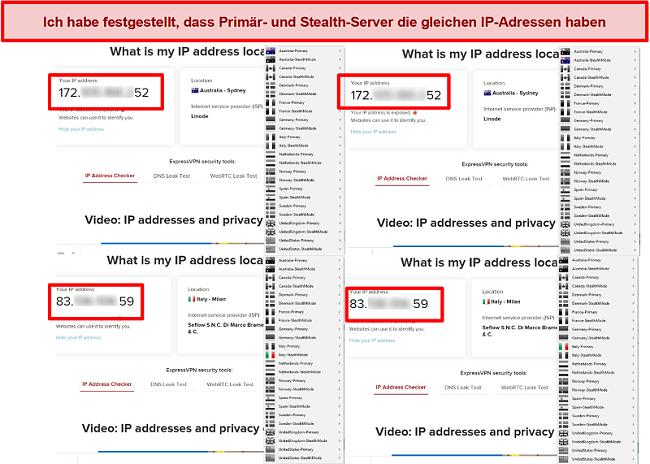 Screenshot der Primär- und Stealth-Server von My Expat Network mit derselben IP-Adresse