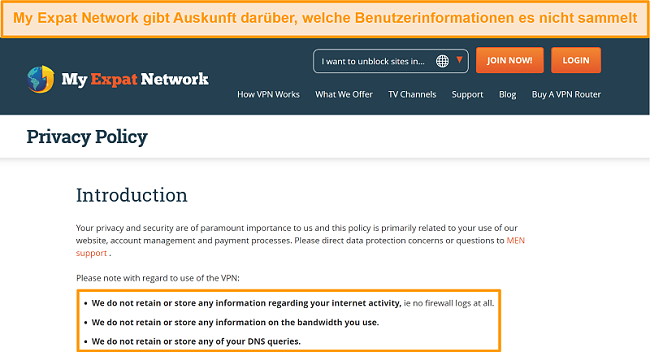 Screenshot der Datenschutzrichtlinie von My Expat Network