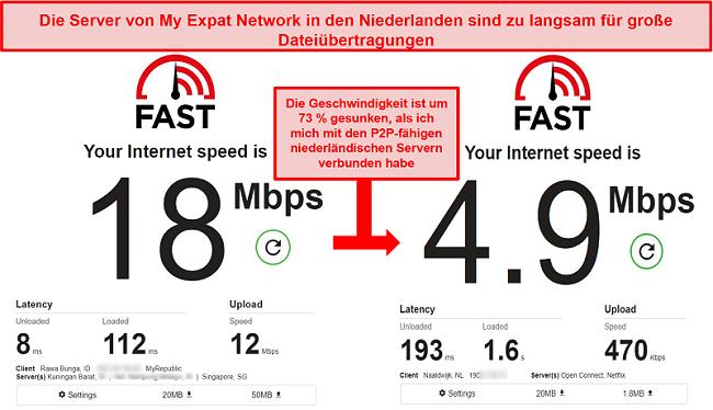 Screenshot der langsamen Torrenting-Server von My Expat Network in den Niederlanden