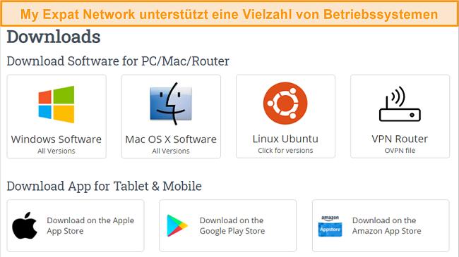 Screenshot der Auswahl der unterstützten Plattformen von My Expat Network