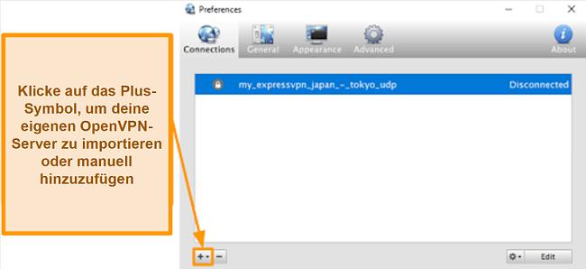 Screenshot der Viscosity-App zum Hinzufügen von OpenVPN-Servern