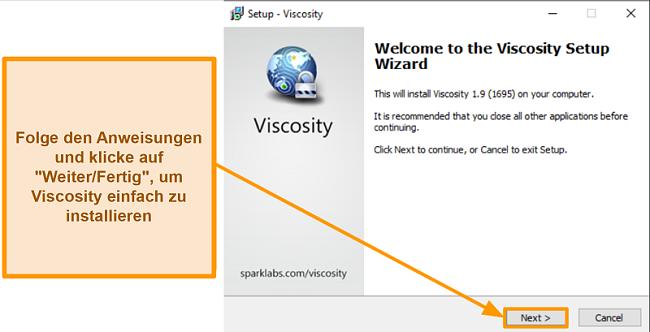 Screenshot des Viscosity-Setup-Assistenten zum Installieren der App
