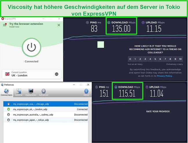 Screenshot der Geschwindigkeitstestergebnisse bei Verbindung mit den UK-Servern von Express VPN über Viscosity und ExpressVPN