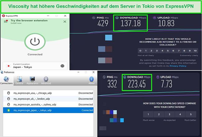 Screenshot der Geschwindigkeitstestergebnisse bei Verbindung mit den Japan-Servern von Express VPN über Viscosity und ExpressVPN