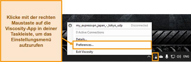Screenshot, der zeigt, wie das Einstellungsmenü in Viskosität über das Symbolleistensymbol geöffnet wird