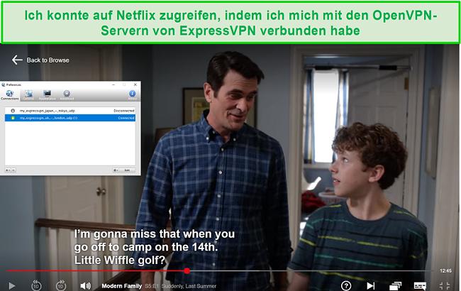 Screenshot von Netflix, das mit Viscosity VPN über die OpenVPN-Server von ExpressVPN gestreamt wurde