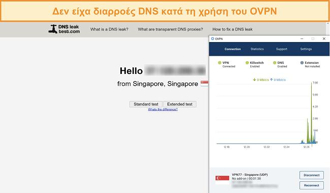 Στιγμιότυπο οθόνης του OVPN που περνάει μια δοκιμή διαρροής DNS