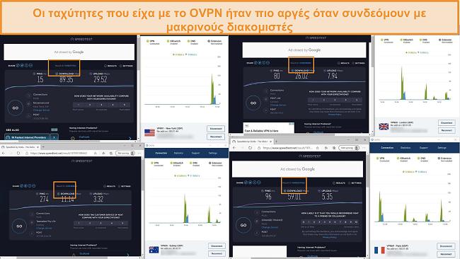 Στιγμιότυπο οθόνης τεστ 4 ταχύτητας ενώ είναι συνδεδεμένο σε OVPN