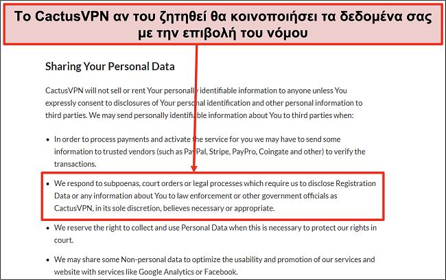 Στιγμιότυπο οθόνης της πολιτικής απορρήτου του CactusVPN που δείχνει ότι θα παραδώσει τα δεδομένα σας