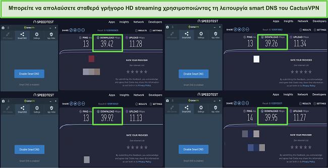 Στιγμιότυπο οθόνης τεστ 4 ταχύτητας ενώ συνδέεται με έξυπνους διακομιστές DNS του CactusVPN