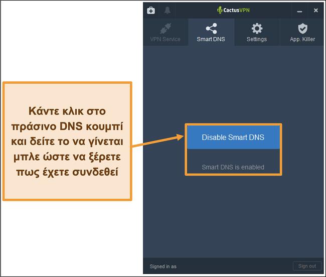 Στιγμιότυπο οθόνης της διεπαφής CactusVPN που δείχνει πώς να ενεργοποιήσετε το έξυπνο DNS