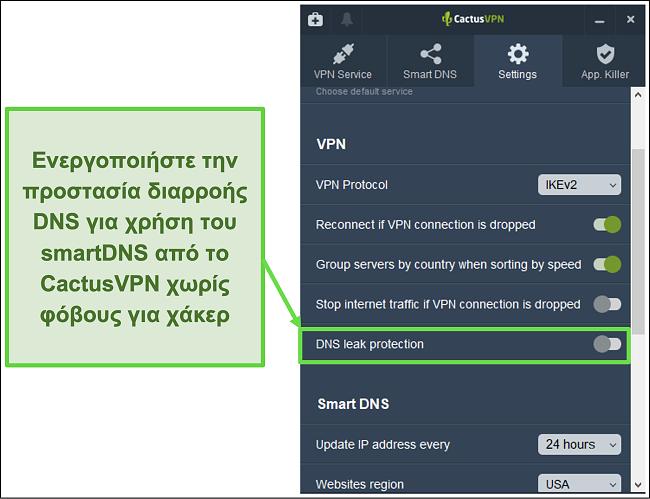 Στιγμιότυπο οθόνης που δείχνει πώς να ενεργοποιήσετε την προστασία διαρροών DNS