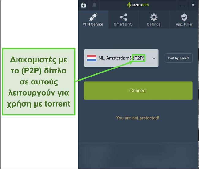 Στιγμιότυπο οθόνης που δείχνει ποιοι διακομιστές είναι σε θέση να torrent