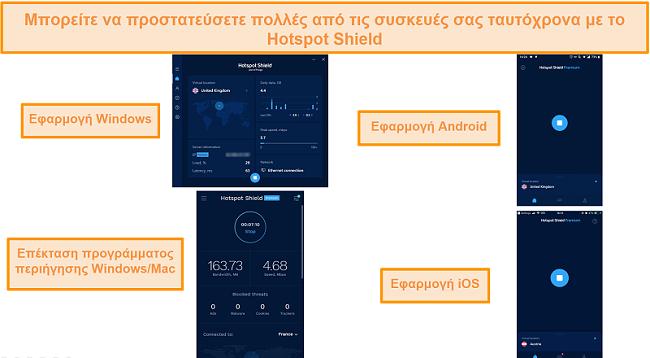 στιγμιότυπο οθόνης της εφαρμογής Hotspot Shield σε Windows, Android, Mac και iOS.
