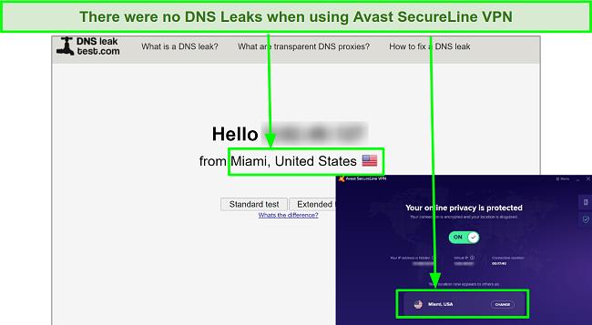 Screenshot of DNS leak tests showing that Avast SecureLine VPN masked my real IP address.