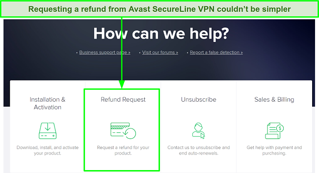 A screenshot showing the Refund Request process on the Avast SecureLine VPN webpage.