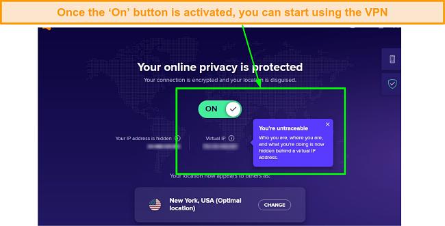 A screenshot showing Avast SecureLine VPN activated.