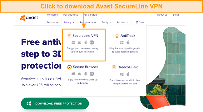 A screenshot showing the download button on Avast SecureLine VPN webpage