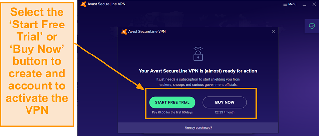 A screenshot showing the free trial button to sign up for an Avast SecureLine VPN account