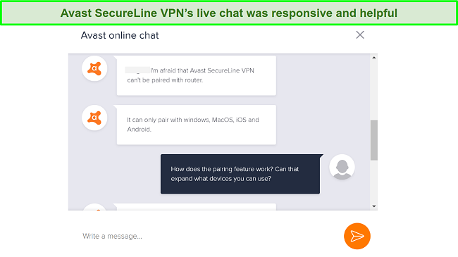 Screenshot of live chat with Avast SecureLine VPN support.