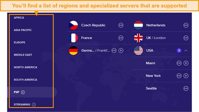 Screenshot of Avast SecureLine VPN servers by regions.