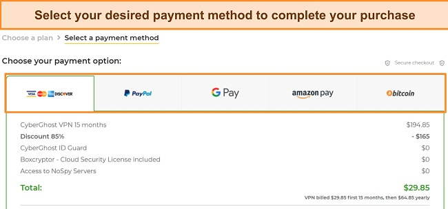 Screenshot of payment methods accepted by CyberGhost