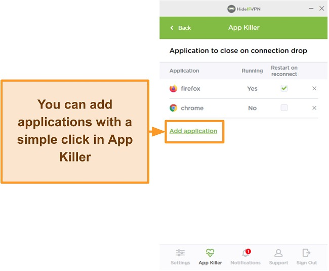 Screenshot of HideIPVPN's Application Killer.