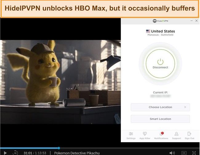 Screenshot of HideIPVPN unblocking HBO Max, streaming Pokemon Detective Pikachu.