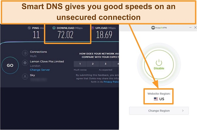 Screenshot of HideIPVPN's Smart DNS speed test.