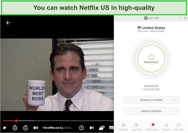 Screenshot of HideIPVPN unblocking US Netflix, streaming The Office (U.S.).