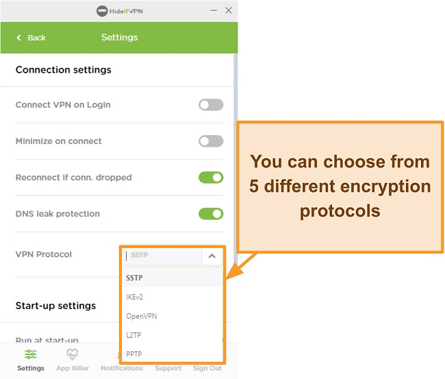 Screenshot of HideIPVPN encryption protocols.