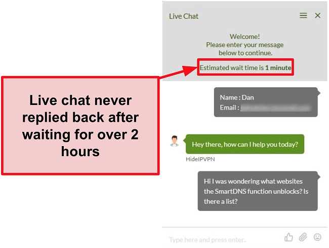 Screenshot of HideIPVPN's live chat failing to reply.
