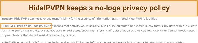 Screenshot of HideIPVPN's no-log policy.