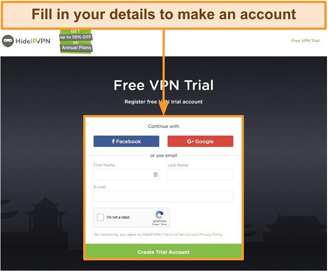 Screenshot of HideIPVPN's account creation process.