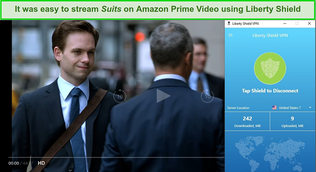 I could watch Suits without interruptions or image quality problems.
