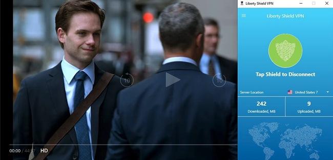 Screenshot of Liberty Shield VPN unblocking Amazon Prime Video, streaming Suits.