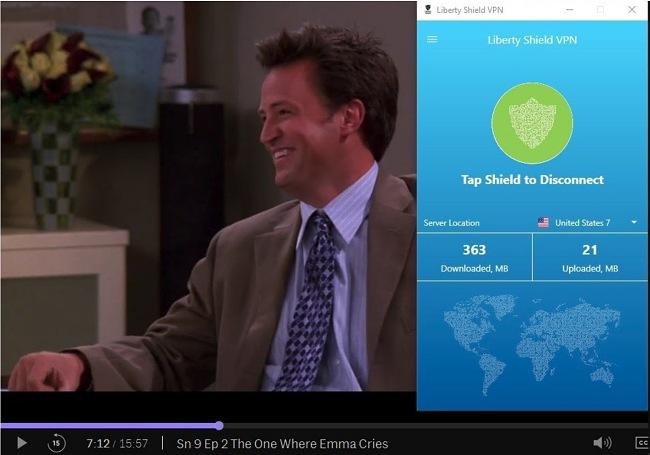 Screenshot of Liberty Shield VPN unblocking HBO Max and streaming Friends