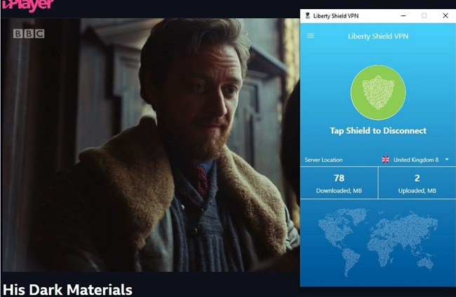 Screenshot of Liberty Shield VPN unblocking BBC iPlayer streaming His Dark Materials.