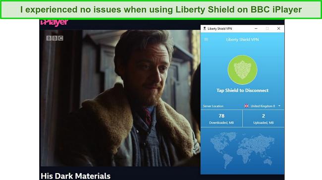 screenshot of Liberty Shield VPN unblocking BBC iPlayer