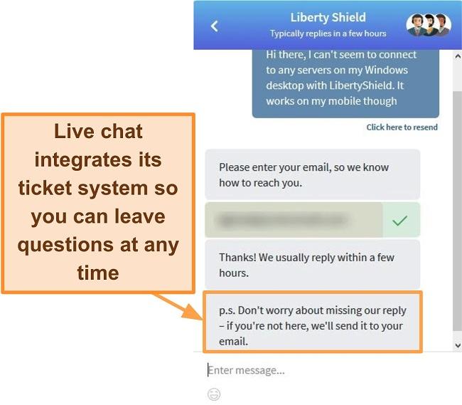 Screenshot of Liberty Shield's live sales chat window