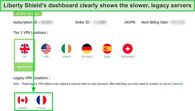 Screenshot of the Liberty Shield Dashboard that indicates which servers belong to its legacy network
