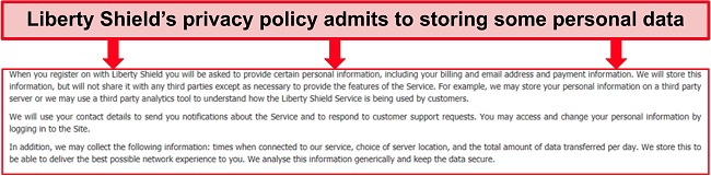 Screenshot of Liberty Shield's privacy policy stating that your personal data can be stored in a third party server
