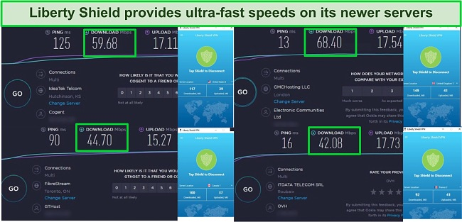 Screenshot of LIberty Shield's Speeds when connected to 4 different locations