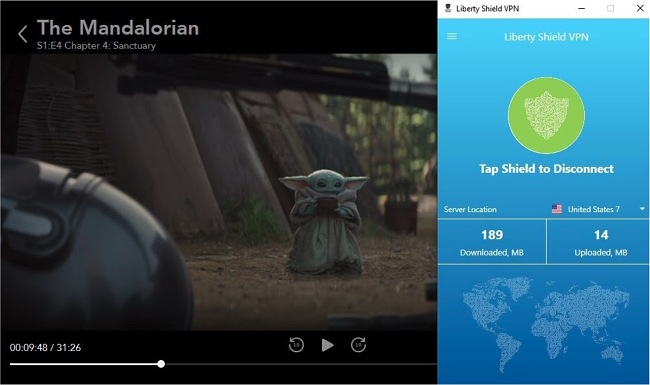 Screenshot of Liberty Shield VPN unblocking Disney+ successfully on its second attempt, streaming The Mandalorian.