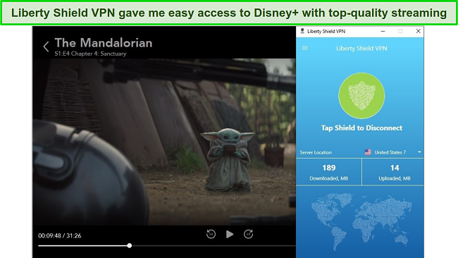 screenshot of Liberty Shield VPN unblocking Disney+