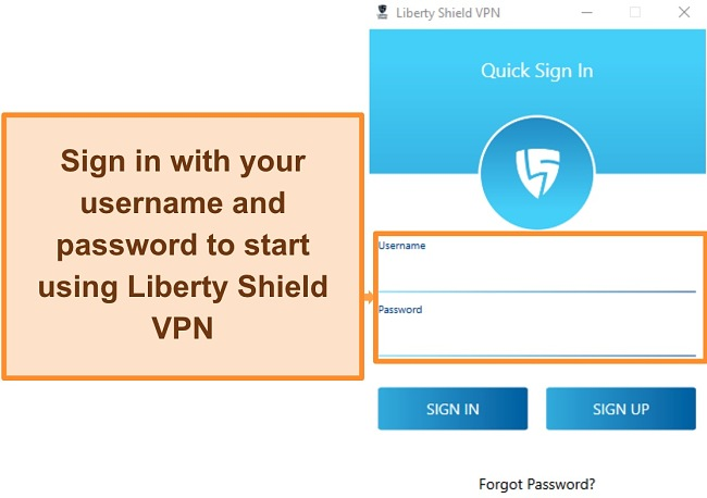 Screenshot of Liberty Shield's login screen after installing the application.