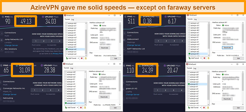 Screenshot of 4 speed tests while connected to AzireVPN servers