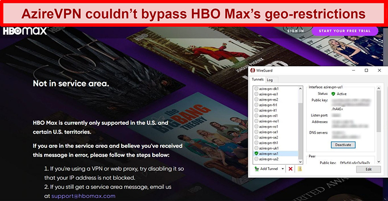 Screenshot of HBO Max's proxy error while connected to AzireVPN via WireGuard