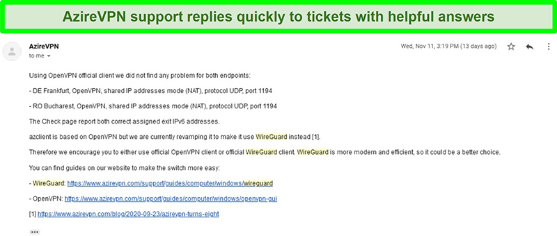 Screenshot of AzireVPN support responding to a help request ticket